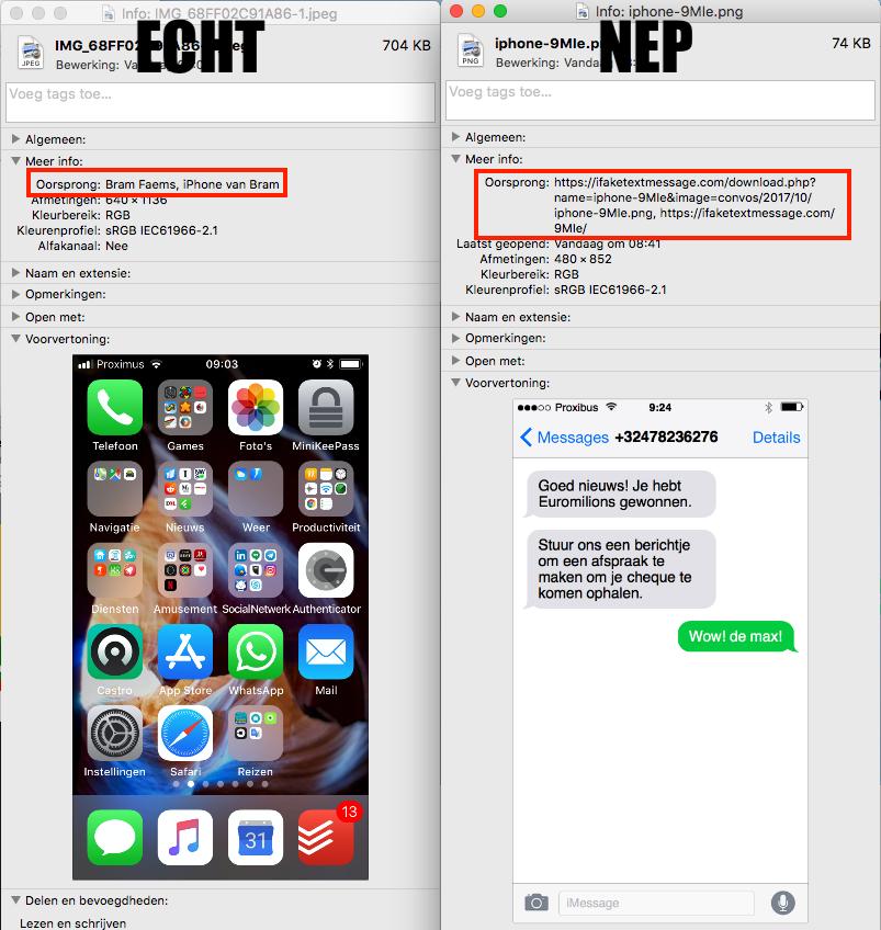 Echte versus fake screenshot schermafbeeldingen herkennen