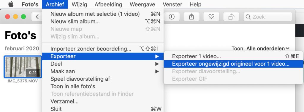 Exporteer ongewijzigd origineel van de video('s)