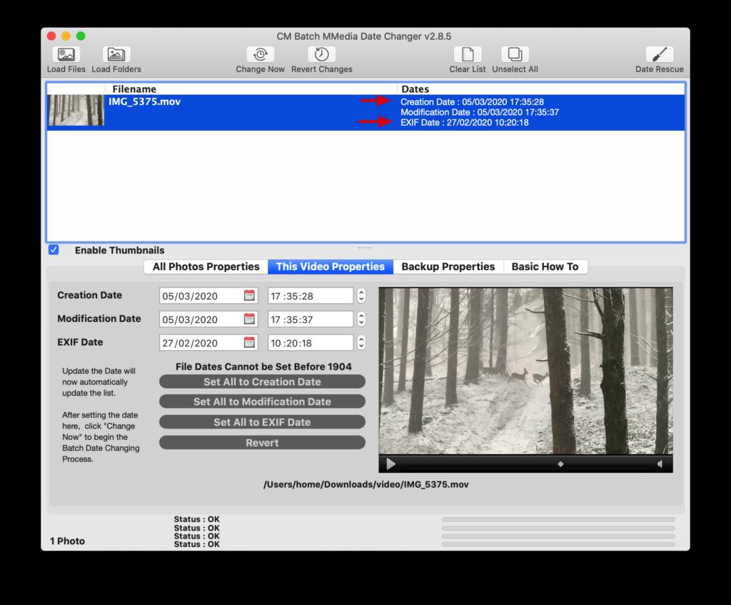 Controleer de EXIF datum in de video.